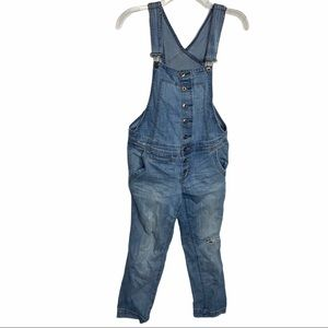Free People Button Front Distressed Overalls Sz 27